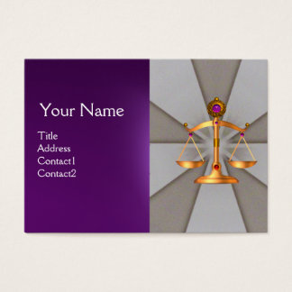 GOLD SCALES OF LAW,ATTORNEY MONOGRAM Grey Purple Business Card