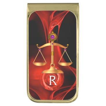 Lawyer Themed GOLD SCALES OF LAW ATTORNEY MONOGRAM Red Black Gold Finish Money Clip