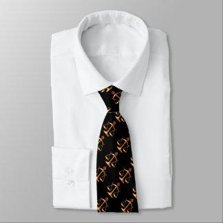 GOLD SCALES OF LAW,GEM STONES,Justice Symbol Black Neck Tie