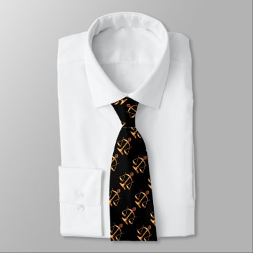 Lawyer Themed GOLD SCALES OF LAW,GEM STONES,Justice Symbol Black Neck Tie