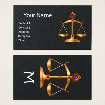 Lawyer Themed GOLD SCALES OF LAW,JUSTICE MONOGRAM,Black Paper Business Card