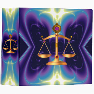 GOLD SCALES OF LAW WITH GEM STONES ,Justice Symbol Binder