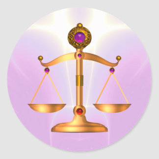 GOLD SCALES OF LAW WITH GEM STONES ,Justice Symbol Classic Round Sticker