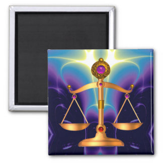 GOLD SCALES OF LAW WITH GEM STONES ,Justice Symbol Magnet