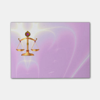 GOLD SCALES OF LAW WITH GEM STONES ,Justice Symbol Post-it Notes