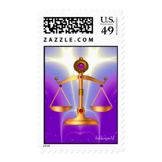 GOLD SCALES OF LAW WITH GEM STONES ,Justice Symbol Postage Stamp