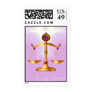 GOLD SCALES OF LAW WITH GEM STONES ,Justice Symbol Stamp