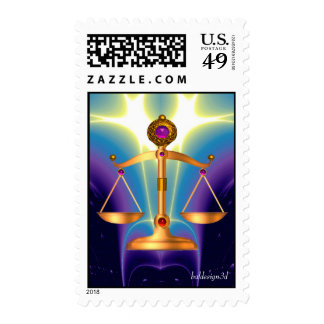 GOLD SCALES OF LAW WITH GEM STONES ,Justice Symbol Postage