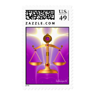 GOLD SCALES OF LAW WITH GEM STONES ,Justice Symbol Postage Stamps