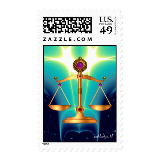 GOLD SCALES OF LAW WITH GEM STONES ,Justice Symbol Stamps