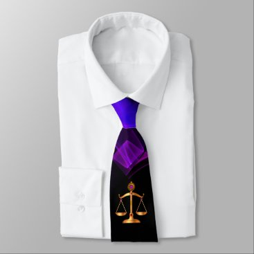 Lawyer Themed GOLD SCALES OF LAW WITH GEM STONES ,Justice Symbol Tie