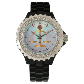 GOLD SCALES OF LAW WITH GEM STONES ,Justice Symbol Watch