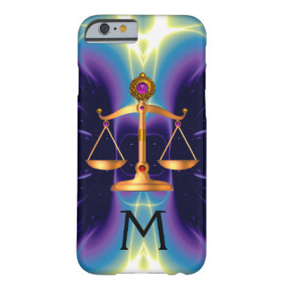 GOLD SCALES OF LAW WITH GEM STONES MONOGRAM BARELY THERE iPhone 6 CASE