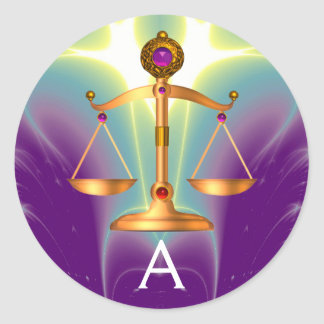 GOLD SCALES OF LAW WITH GEM STONES MONOGRAM CLASSIC ROUND STICKER