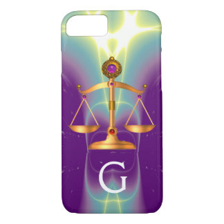 GOLD SCALES OF LAW WITH GEM STONES MONOGRAM iPhone 8/7 CASE