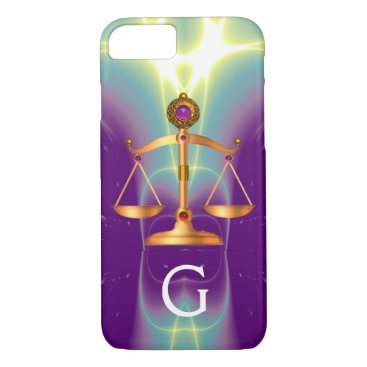 Lawyer Themed GOLD SCALES OF LAW WITH GEM STONES MONOGRAM iPhone 8/7 CASE