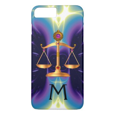 Lawyer Themed GOLD SCALES OF LAW WITH GEM STONES MONOGRAM iPhone 8 PLUS/7 PLUS CASE