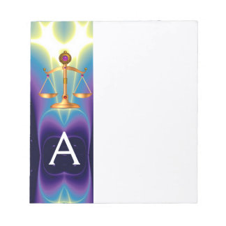 GOLD SCALES OF LAW WITH GEM STONES MONOGRAM NOTE PAD