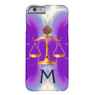 GOLD SCALES OF LAW WITH GEM STONES MONOGRAM Pink Barely There iPhone 6 Case