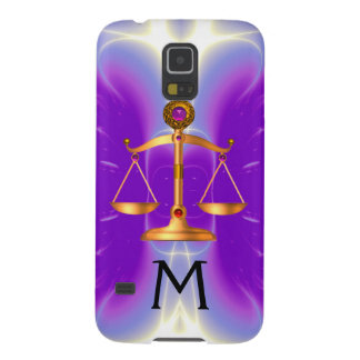 GOLD SCALES OF LAW WITH GEM STONES MONOGRAM Pink Galaxy S5 Cover