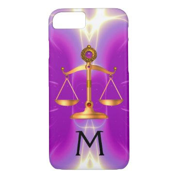 Lawyer Themed GOLD SCALES OF LAW WITH GEM STONES MONOGRAM Pink iPhone 8/7 Case