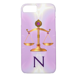 GOLD SCALES OF LAW WITH GEM STONES MONOGRAM Pink iPhone 8/7 Case