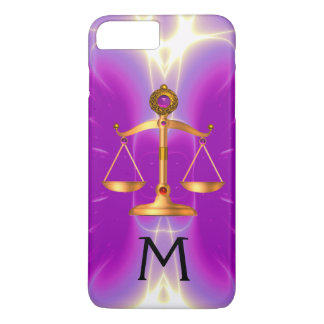 GOLD SCALES OF LAW WITH GEM STONES MONOGRAM Pink iPhone 8 Plus/7 Plus Case