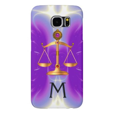 Lawyer Themed GOLD SCALES OF LAW WITH GEM STONES MONOGRAM Pink Samsung Galaxy S6 Case