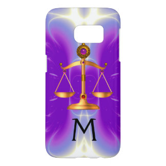 GOLD SCALES OF LAW WITH GEM STONES MONOGRAM Pink Samsung Galaxy S7 Case