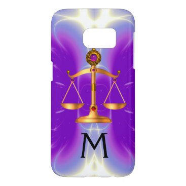Lawyer Themed GOLD SCALES OF LAW WITH GEM STONES MONOGRAM Pink Samsung Galaxy S7 Case