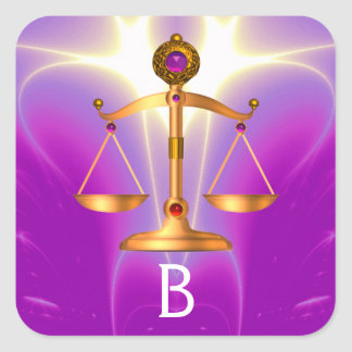 GOLD SCALES OF LAW WITH GEM STONES MONOGRAM SQUARE STICKER