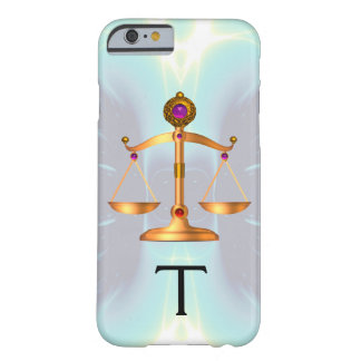 GOLD SCALES OF LAW WITH GEM STONES MONOGRAM Teal Barely There iPhone 6 Case