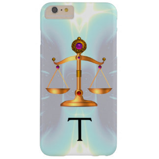 GOLD SCALES OF LAW WITH GEM STONES MONOGRAM Teal Barely There iPhone 6 Plus Case