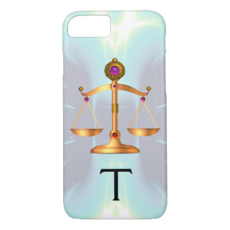 GOLD SCALES OF LAW WITH GEM STONES MONOGRAM Teal iPhone 8/7 Case
