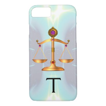 Lawyer Themed GOLD SCALES OF LAW WITH GEM STONES MONOGRAM Teal iPhone 8/7 Case