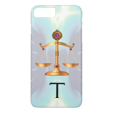 Lawyer Themed GOLD SCALES OF LAW WITH GEM STONES MONOGRAM Teal iPhone 8 Plus/7 Plus Case