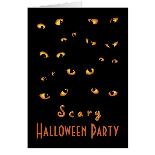 Gold Scary Eyes Halloween Card