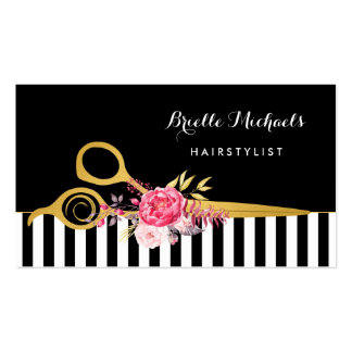 Gold Scissors Black Stripes Pink Floral Hair Salon Double-Sided Standard Business Cards (Pack Of 100)