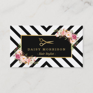 gold scissors floral hair stylist beauty salon business card - Hair Salon Business Cards