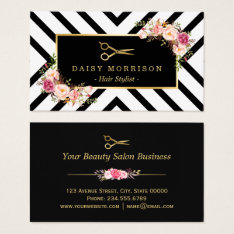 Gold Scissors Floral Hair Stylist Beauty Salon Business Card at Zazzle