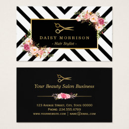 Hair salon business cards templates zazzle gold scissors floral hair stylist beauty salon business card reheart Image collections