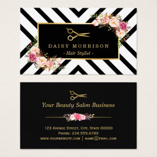 Hair salon business cards templates zazzle gold scissors floral hair stylist beauty salon business card cheaphphosting Image collections