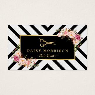 Gold Scissors Floral Hair Stylist Beauty Salon Business Card