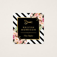 Gold Scissors Flowers Hair Stylist Beauty Salon Square Business Card at Zazzle