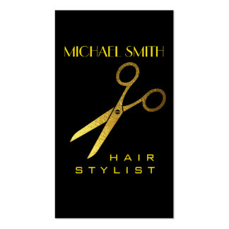 Gold Scissors Hair Stylist Appointment #4 Business Card
