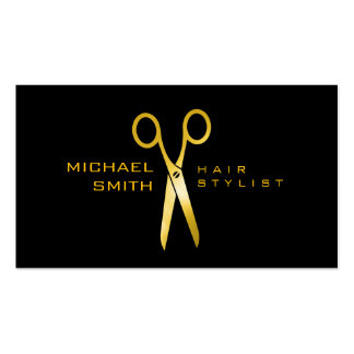 Gold Scissors Hair Stylist Appointment #9 Business Card
