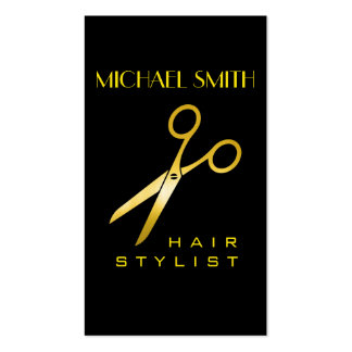 Gold Scissors Hair Stylist Appointment Business Card
