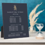 """Gold Scissors Salon Pricing/Services Display Plaque<br><div class=""""desc"""">Elegant plaque with easel displays your salon services or price list in classic white lettering on a rich navy blue background adorned with a floral scissors logo in faux gold foil. Includes three customizable headings and body text fields. To adjust layout, enter your text and then use the Customize function...</div>"""