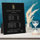 """Gold Scissors Salon Pricing/Services Display Plaque<br><div class=""""desc"""">Elegant plaque with easel displays your salon services or price list in classic white lettering on a rich black background adorned with a floral scissors logo in faux gold foil. Includes three customizable headings and body text fields. To adjust layout, enter your text and then use the Customize function to...</div>"""
