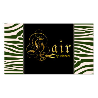 Gold Scissors Script Hair Stylist Appointment #6 Business Card